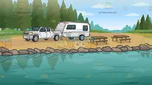 A Lakeside Trailer Campsite Background