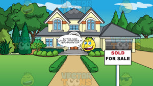 A Large Home For Sale Background. A pale yellow house with large windows, a garage, and path leading up to the front door, with large trees next to it, and a lush green lawn with a for sale on the lawn