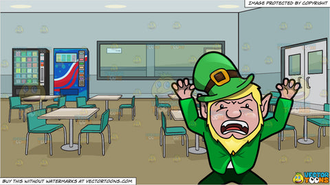 A Leprechaun Acting Up To Scare People and Employee Lunch Room In An Office Building Background