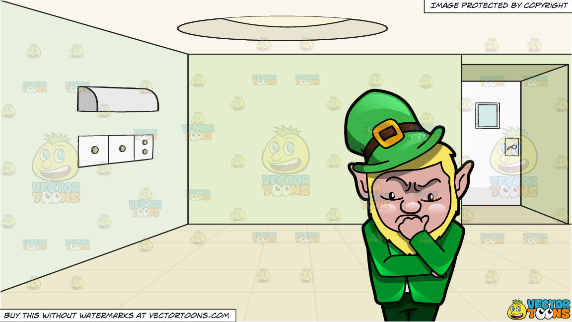 07b65161f8503 A Leprechaun Deliberating A Thought and Empty Room With Green Walls  Background