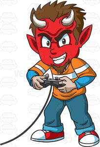 A Little Devil Playing A Video Game
