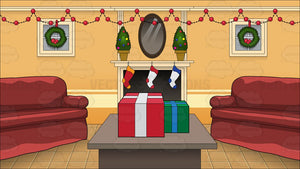 A Living Room Decorated For Christmas