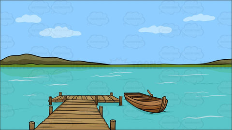 A Long Wooden Dock On A Lake Background