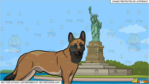 A Lovely Belgian Malinois and The Statue Of Liberty Background