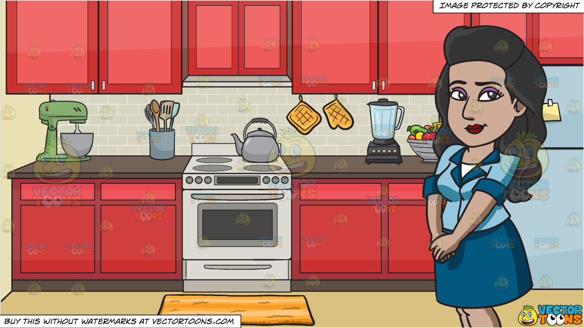 A Lovely Indian Woman And A Stove In The Kitchen Background Clipart Cartoons By Vectortoons