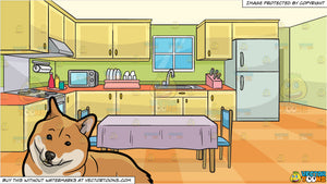 A Lovely Shiba Inu Dog and A Family Kitchen With A Dining Table And Two Chairs Background
