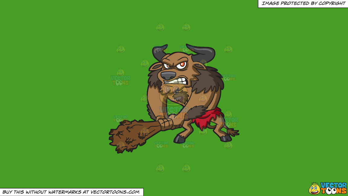 Cartoon clipart: a mad minotaur on a solid kelly green 47a025 background