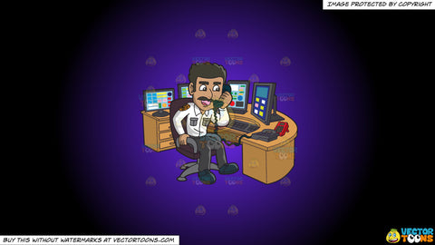 Cartoon clipart: a male 911 dispatcher talking on the phone on a purple and black gradient background