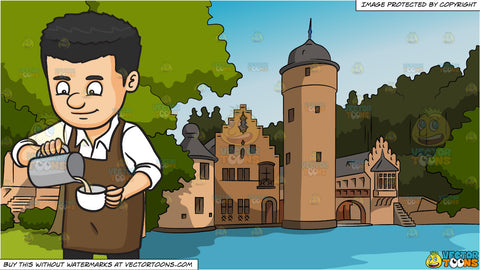 A Male Baritsa Pouring Hot Milk On A Cup and Countryside Castle Background