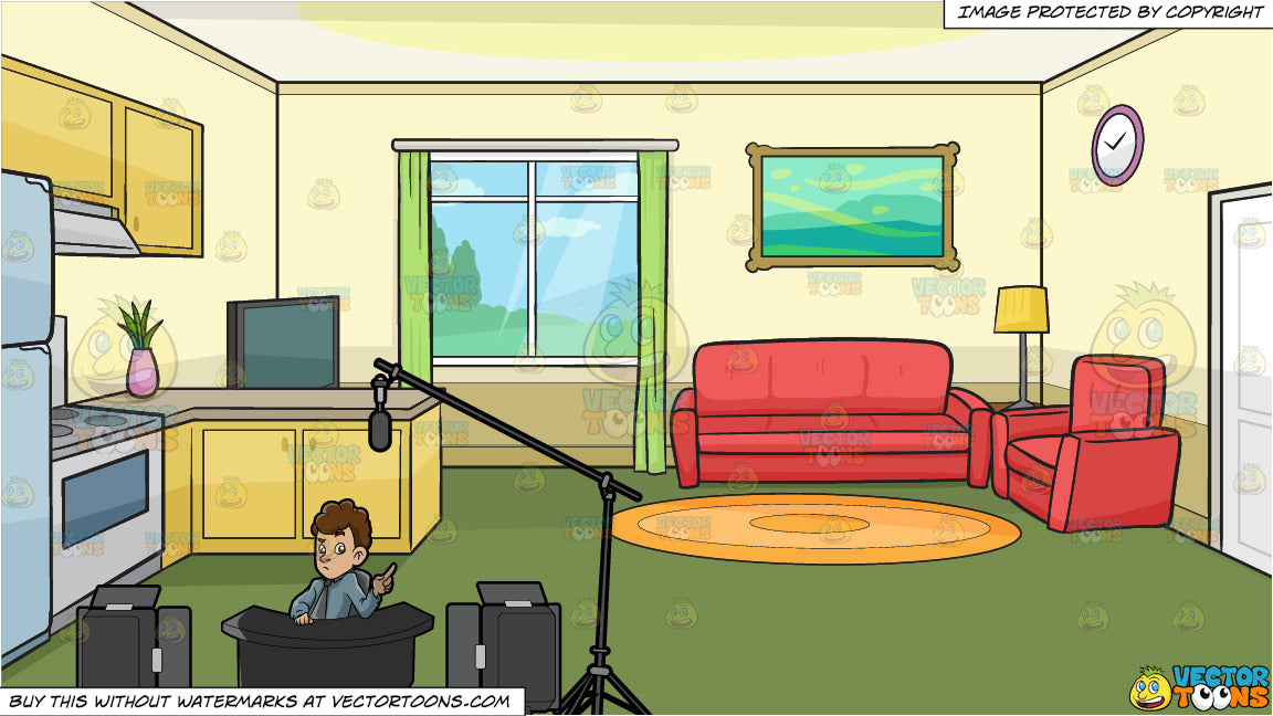 A Male Commentator Filming An Episode Of His Show And The Kitchen