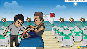 A Male Physical Therapist Helping A Man Stretch His Leg and Chairs And A Canopy Set Up For A Beach Wedding Background