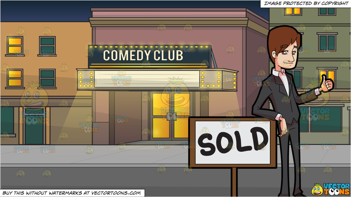 A Male Real Estate Broker Closing A Sale Deal Of A Property and Outside A  Comedy Club Background