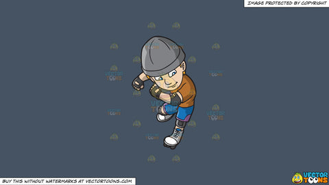 Cartoon clipart: a male roller skating aficionado on a solid metal grey 465362 background