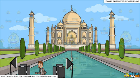 A male veteran host filming an episode of his show and Taj Mahal Background