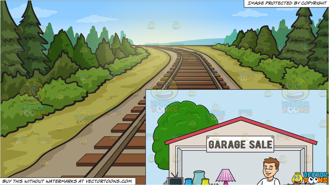 A Male Volunteer Having A Garage Sale and Country Railway Tracks Background