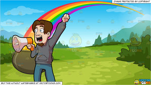 A Man Announcing Victory Over The Megaphone and Pot Of Gold At The End Of The Rainbow Background