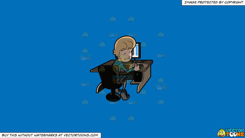 Cartoon clipart: a man approving the contents of what he saw on the internet on a solid spanish blue 016fb9 background