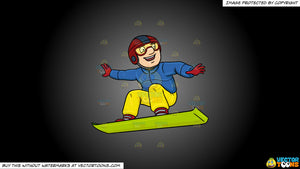 Cartoon clipart: a man basking in merriment while snowboarding on a grey and black gradient background