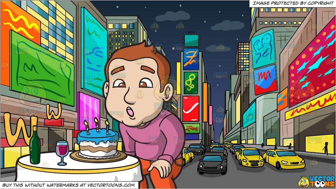 A Man Blowing Out The Candles On His Birthday Cake And New York Times Square At