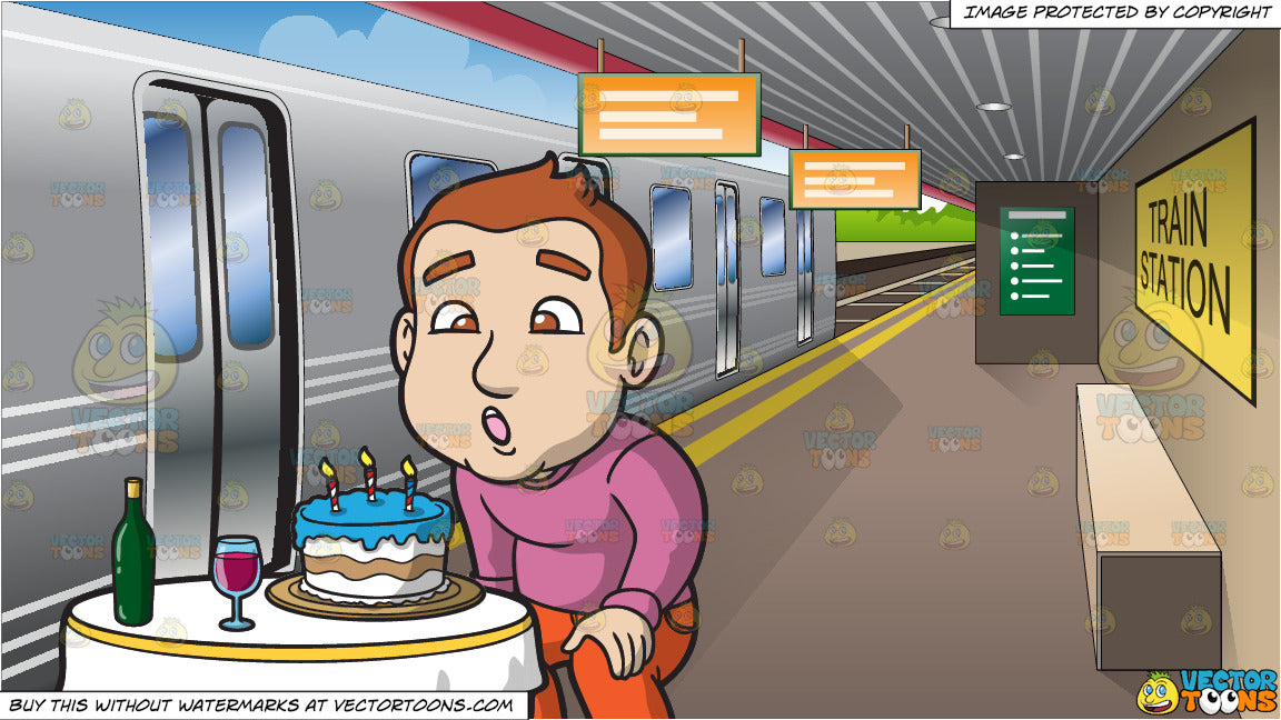 A Man Blowing Out The Candles On His Birthday Cake And Platform At Train Station Background