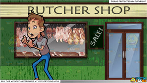 A Man Carefully Flossing His Teeth and Exterior Of A Butcher Shop Background