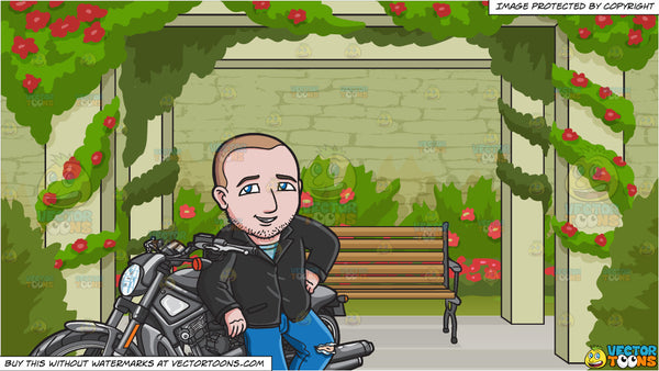 Stupendous A Man Casually Leaning Against His Motorcycle And Bench In A Rose Garden Background Squirreltailoven Fun Painted Chair Ideas Images Squirreltailovenorg