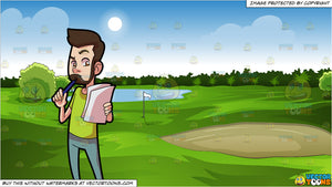 A Man Contemplating His Composition And Green Golf Course Background Clipart Cartoons By Vectortoons