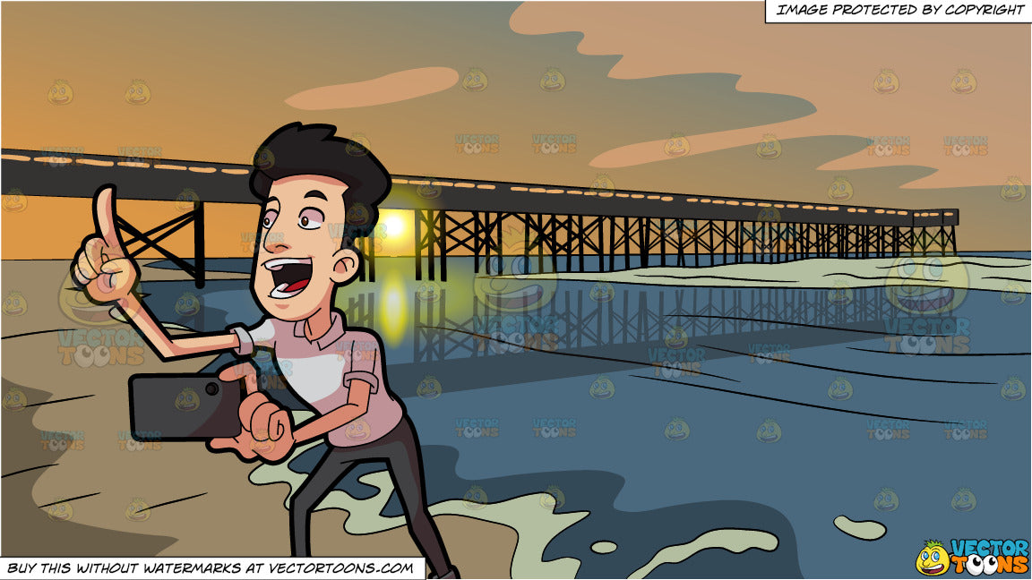 A Man Counting Before He Takes A Photo and Sunset Pier Background