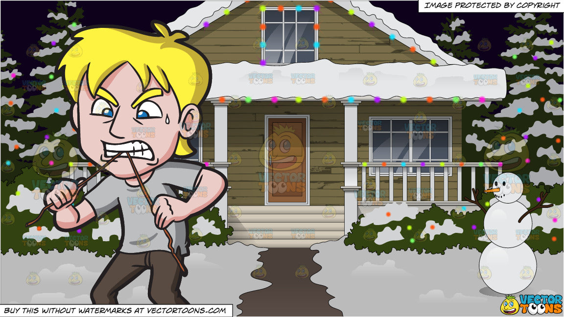 Surprising A Man Cutting A Wire With His Teeth And The Exterior Of A House Lit Up With Christmas Lights Background Download Free Architecture Designs Sospemadebymaigaardcom