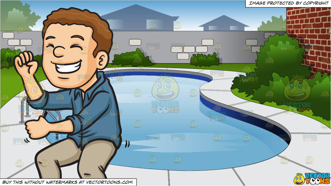 A Man Dancing At A Party and Backyard Swimming Pool Background