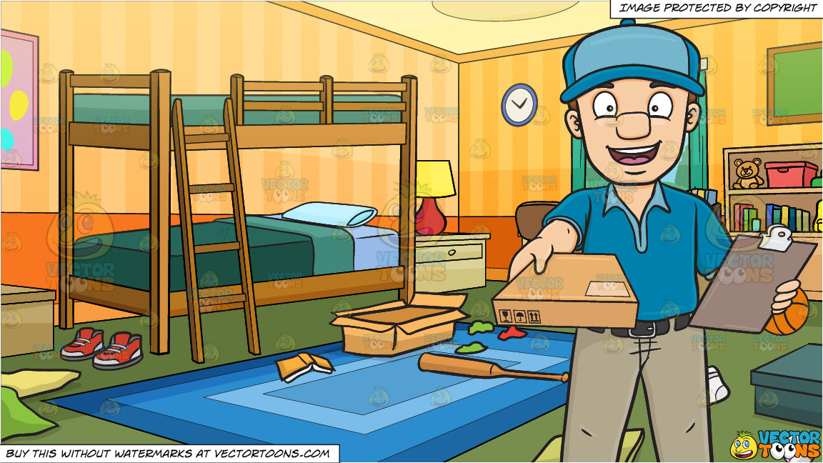 A Man Delivering A Small Package Box and Messy Kids Bedroom Background