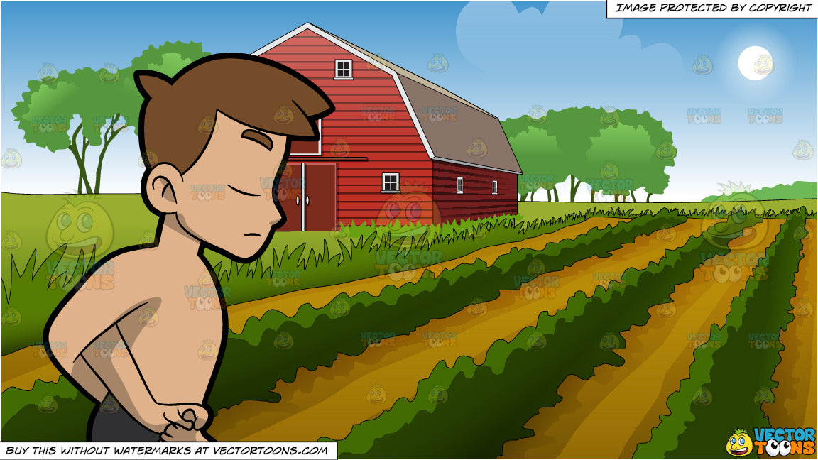 A Man Doing A Locked Lotus Yoga Pose and Farm Field And Barn Background
