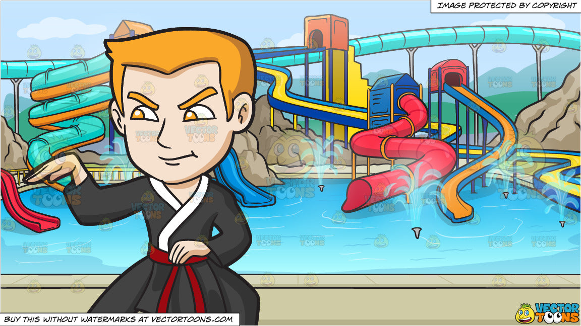 A Man Doing A Snake Style Martial Arts Stance And A Cool Water Park Ba Clipart Cartoons By Vectortoons