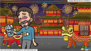 a man drunk on facebook likes and chinese new year background