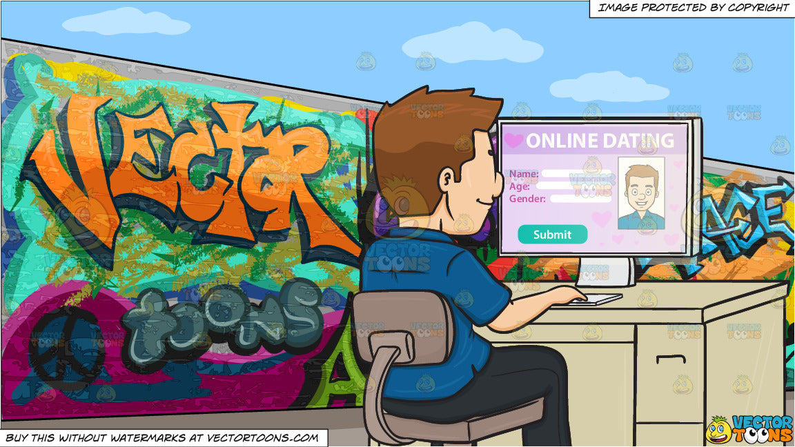 A Man Editing His Online Dating Profile On A Desktop Computer and A  Graffiti Wall Background