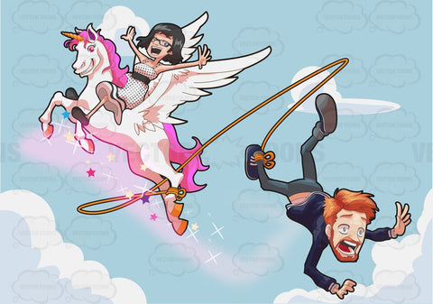 A Man Falling Off A Flying Unicorn