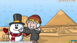 A Man Fixing The Head Of A Happy Snowman and Pyramids Of Giza Background