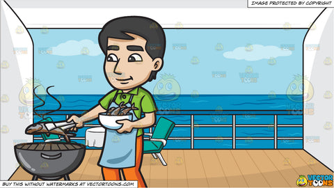 A Man Grilling Fish On The Bbq and A Balcony Of A Cruise Ship State Room Background