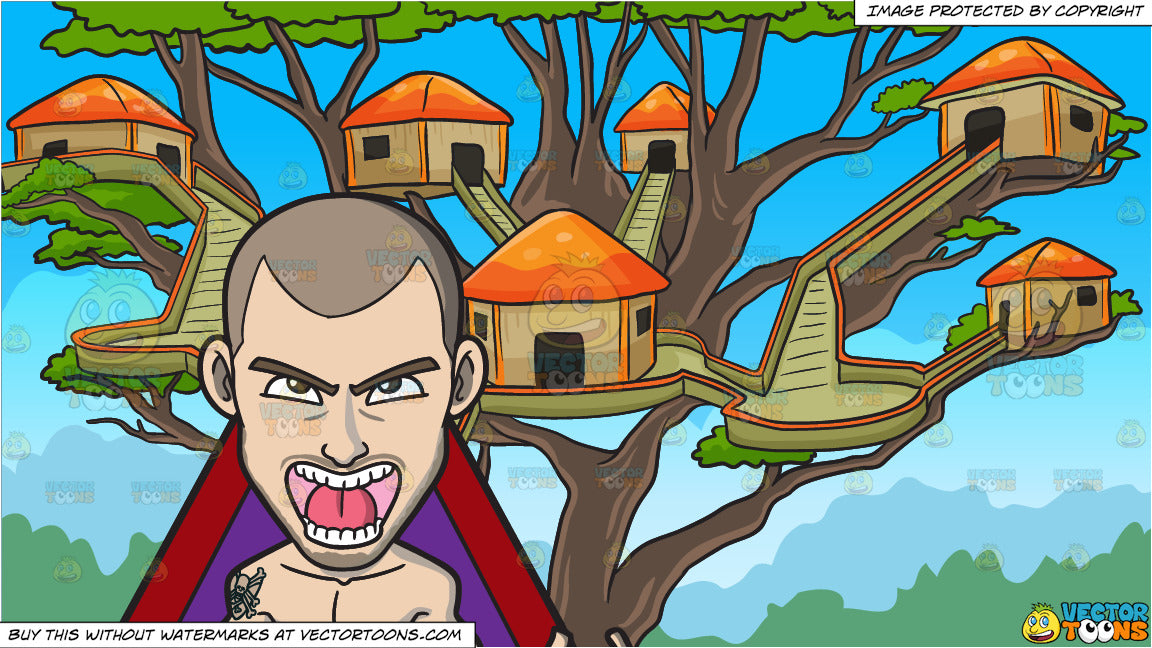 A Man Inside A Triangle And A Tree House Village Background Clipart Cartoons By Vectortoons Inside of tree house, warm cabin stock illustration. a man inside a triangle and a tree house village background clipart cartoons by vectortoons