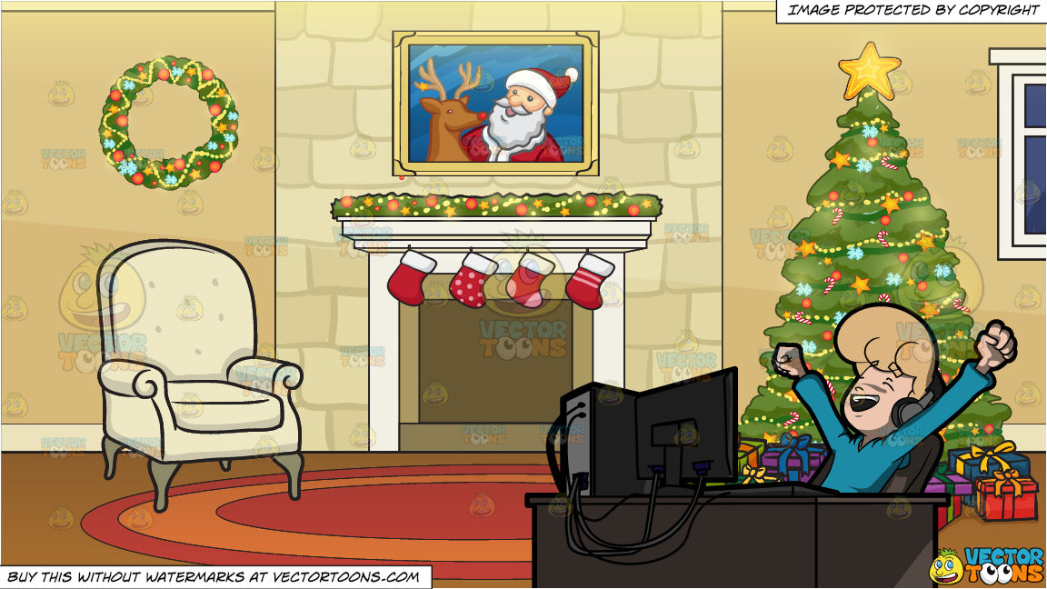 Christmas Sports Background.A Man Letting Out His Excitement And Happiness After Watching A Sports Show On His Computer And A Fireplace Beside A Christmas Tree Background
