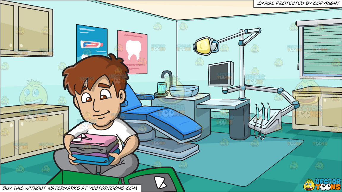 A Man Packing His Suitcase and Dental Clinic Background