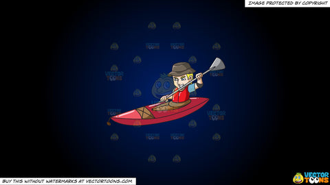 Cartoon clipart: a man paddling his kayak aggressively on a dark blue and black gradient background