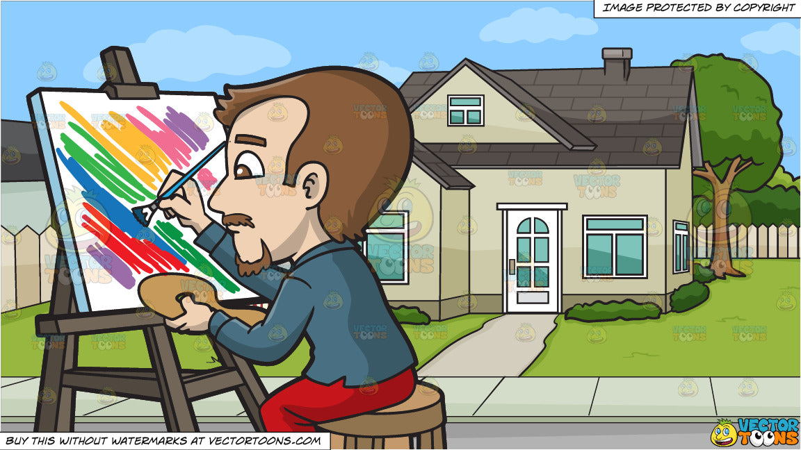 A Man Painting A Striped Abstract Art and A House For Sale Background