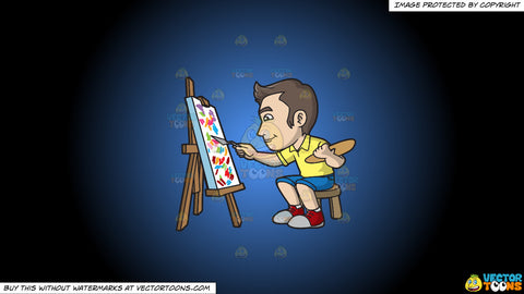 Cartoon clipart: a man painting abstract on a blue and black gradient background