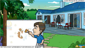A Man Painting The Patched Wall With White Paint and A Landscaped Backyard  Of A House Background