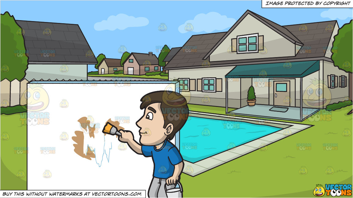 A Man Painting The Patched Wall With White Paint and A Suburban House With  Swimming Pool Background