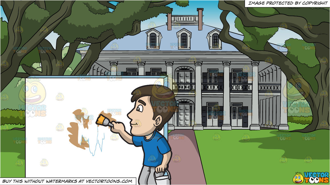 A Man Painting The Patched Wall With White Paint and Colonial Mansion House  Background