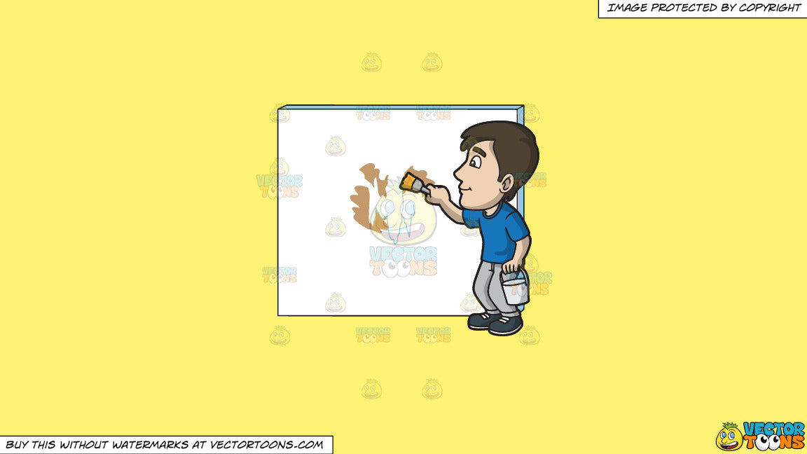Clipart A Man Painting The Patched Wall With White Paint On A Solid Sunny Yellow Fff275 Background
