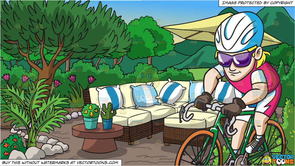 A Man Pedaling His Bike Fast And A Garden Patio Background
