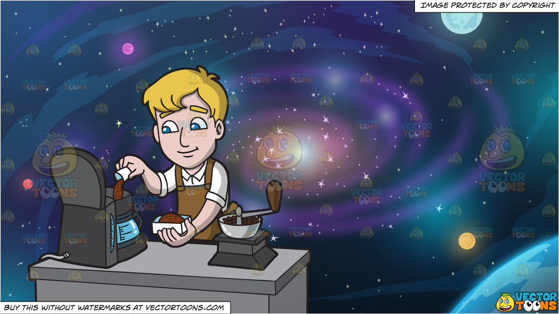 A Man Placing Some Ground Coffee Into A Coffee Maker and Galaxy Background